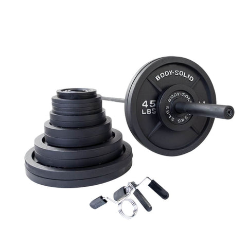Image of Body-Solid OSB Cast Iron Plate & Barbell Set (Black Bar) 400 lbs Set
