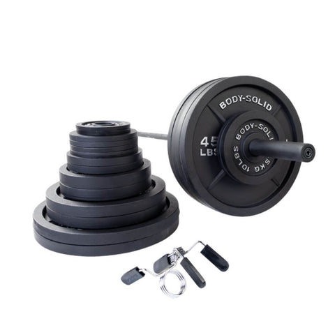 Image of Body-Solid OSB Cast Iron Plate & Barbell Set (Black Bar) 500 lbs Set