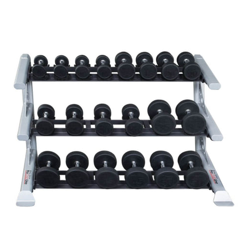 Image of Body-Solid ProClub SDKR1000SD 3 Tier Saddle Dumbbell Rack 3D View With Dumbbells