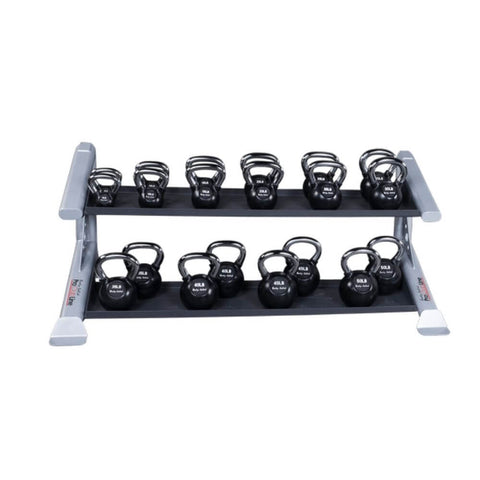 Image of Body-Solid ProClub SDKR500KB 2 Tier Kettlebell Rack 3D View With Kettlebells