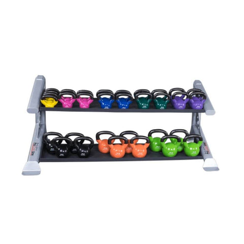 Image of Body-Solid ProClub SDKR500KB 2 Tier Kettlebell Rack With Kettlebells