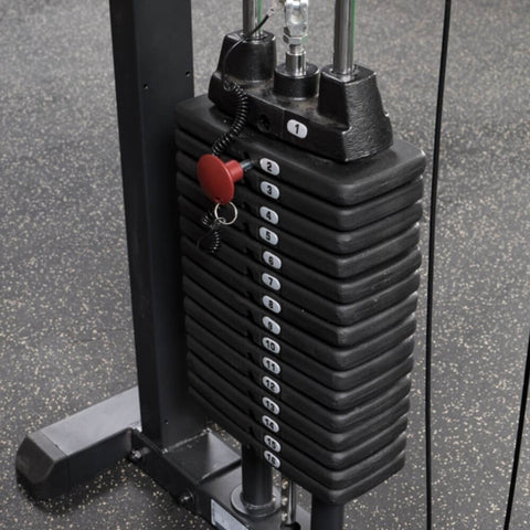 Image of Body-Solid Pro Select GMFP-STK Functional Pressing Station Front Side View Weight Stack