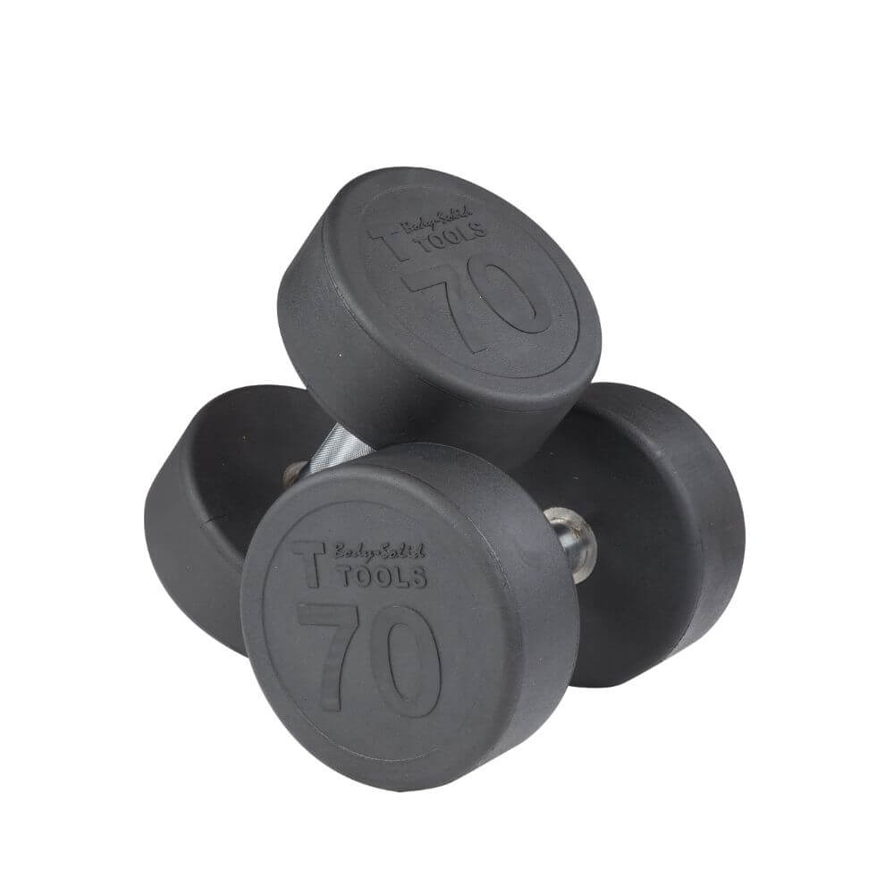 Body-Solid SDP Rubber Round Dumbbells 70 lbs Pair