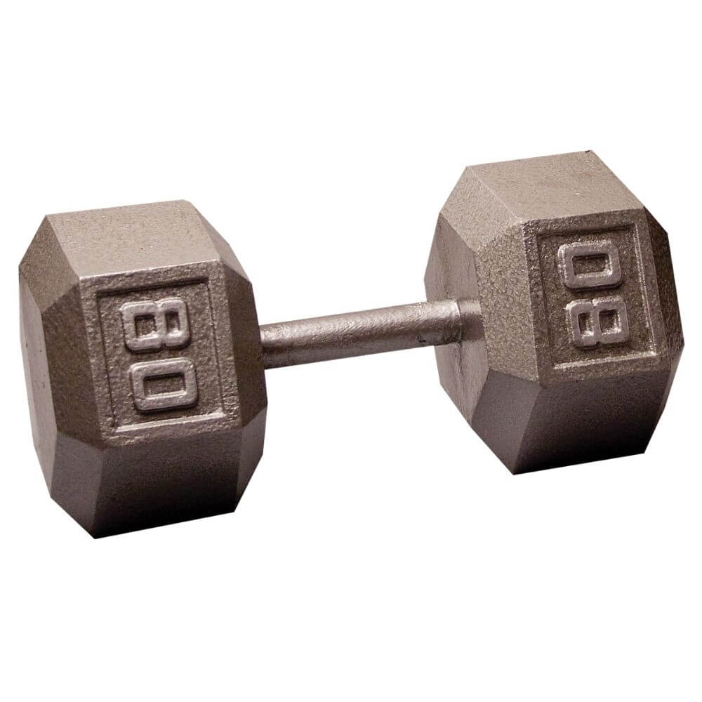 Body-Solid SDX Cast Iron Hex Dumbbells 80 lbs