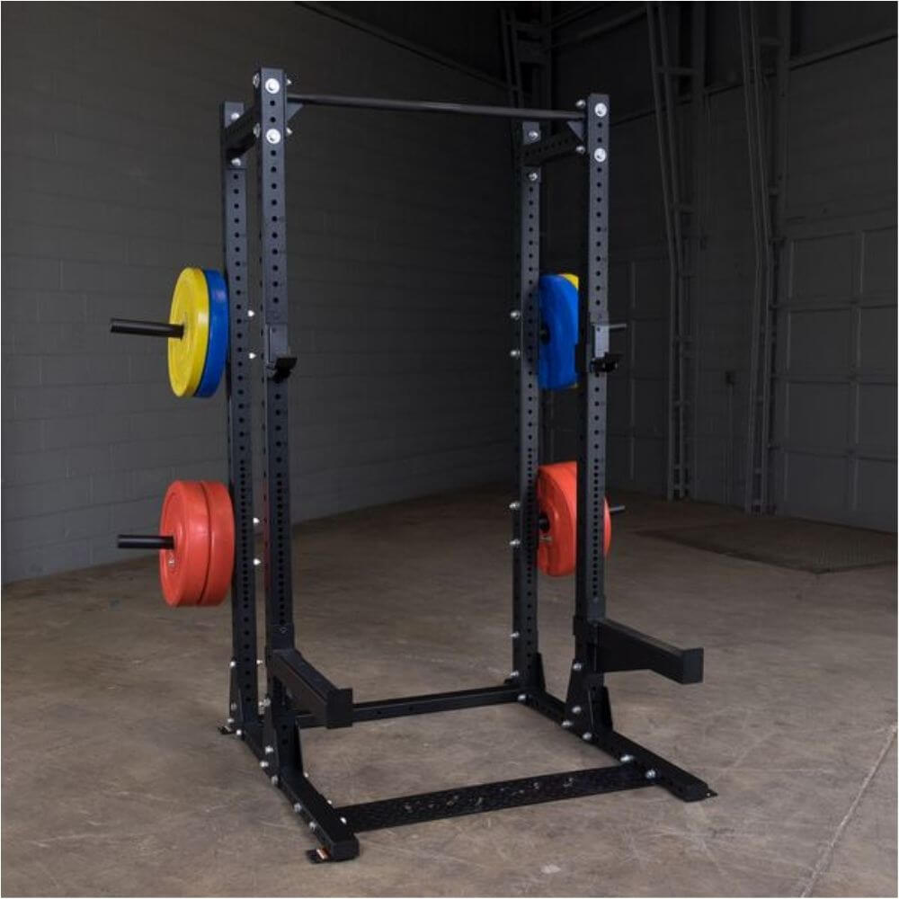 Body-Solid SPR500BACK Extended Commercial Half Rack Front Side View With Plates