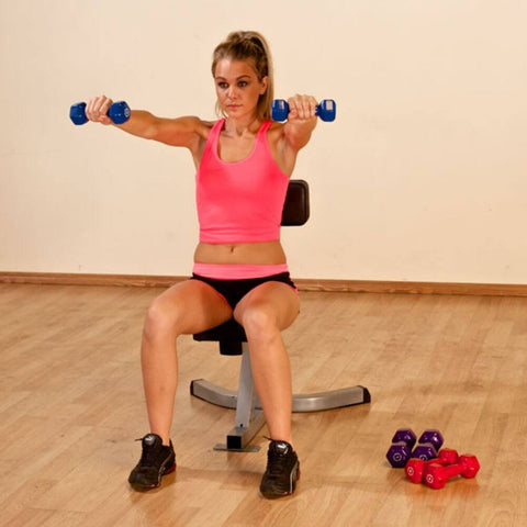 Image of Body-Solid Tools BSTND Neoprene Dumbbells Exercise Arms Forward Squat