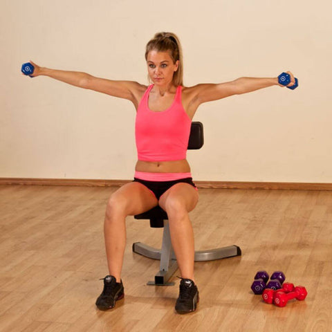 Image of Body-Solid Tools BSTND Neoprene Dumbbells Exercise Arms Sideways