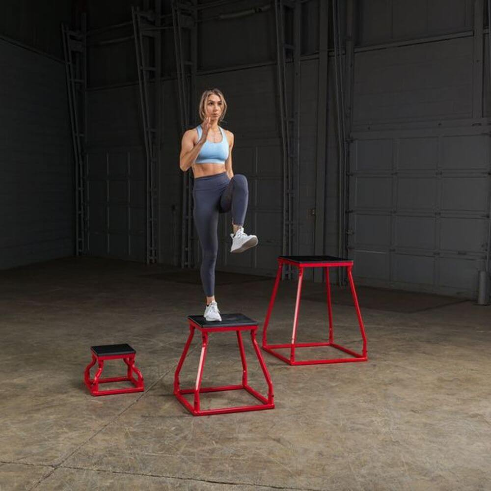 Body-Solid Tools BSTPBS Plyo Box Sets Inverted Standing Over Front View