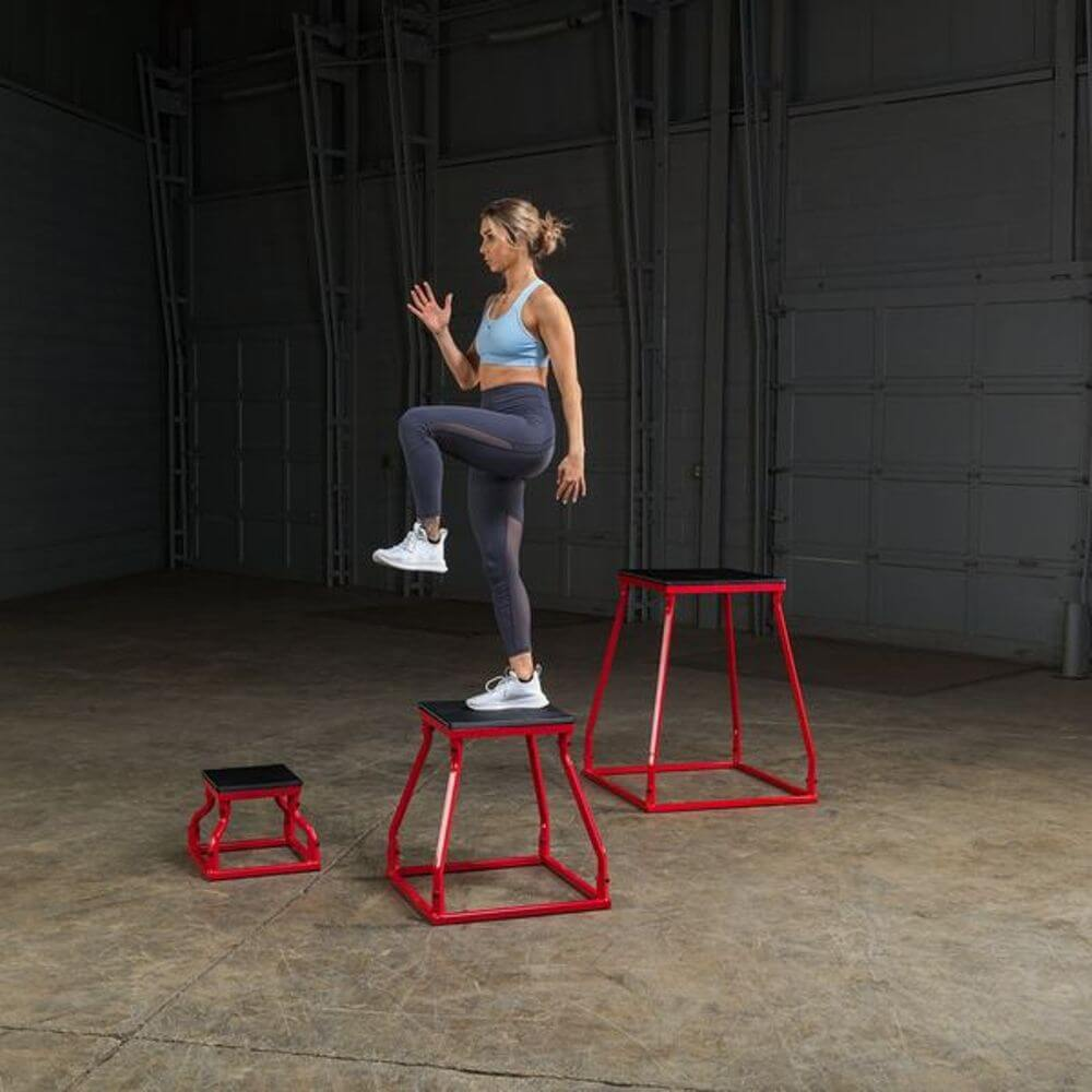 Body-Solid Tools BSTPBS Plyo Box Sets Inverted Standing Over Side View