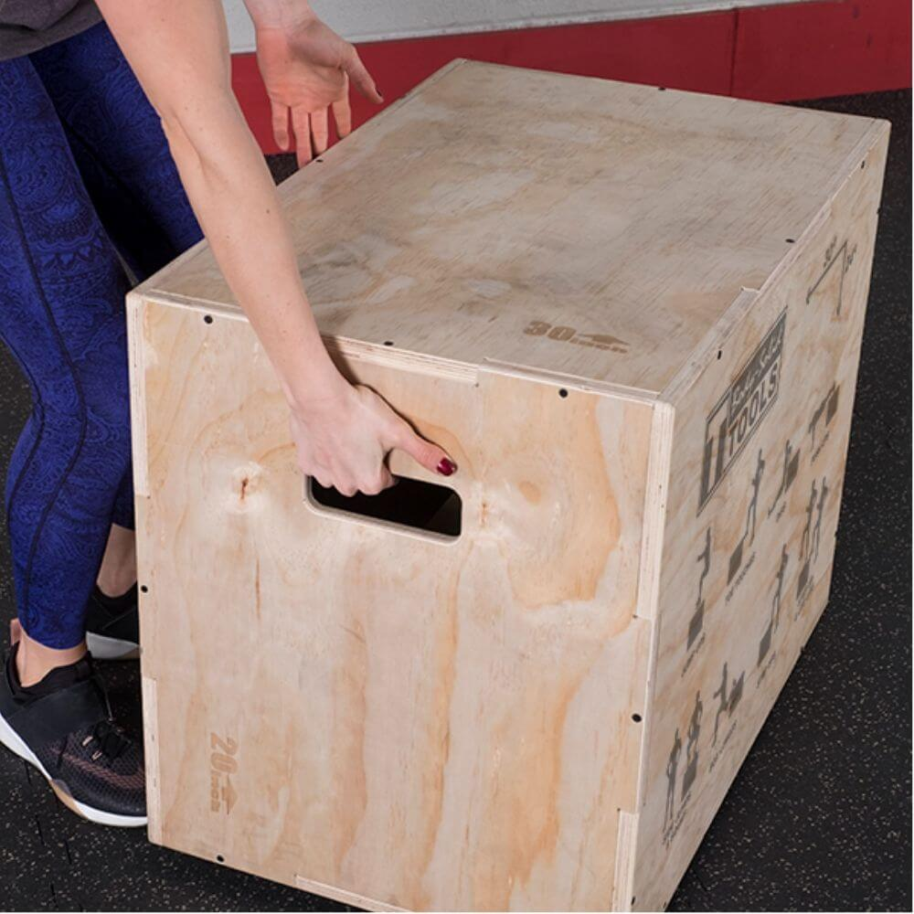 Body-Solid Tools BSTWPBOX 3-in-1 Wooden Plyo Box Carry Handles