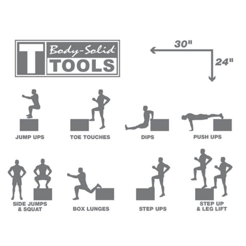 Image of Body-Solid Tools BSTWPBOX 3-in-1 Wooden Plyo Box Excercises