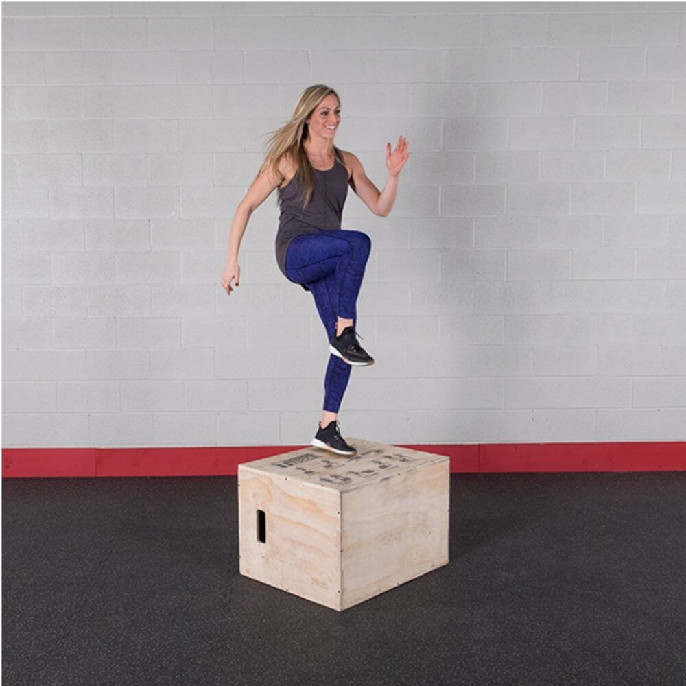 Body-Solid Tools BSTWPBOX 3-in-1 Wooden Plyo Box Step Up