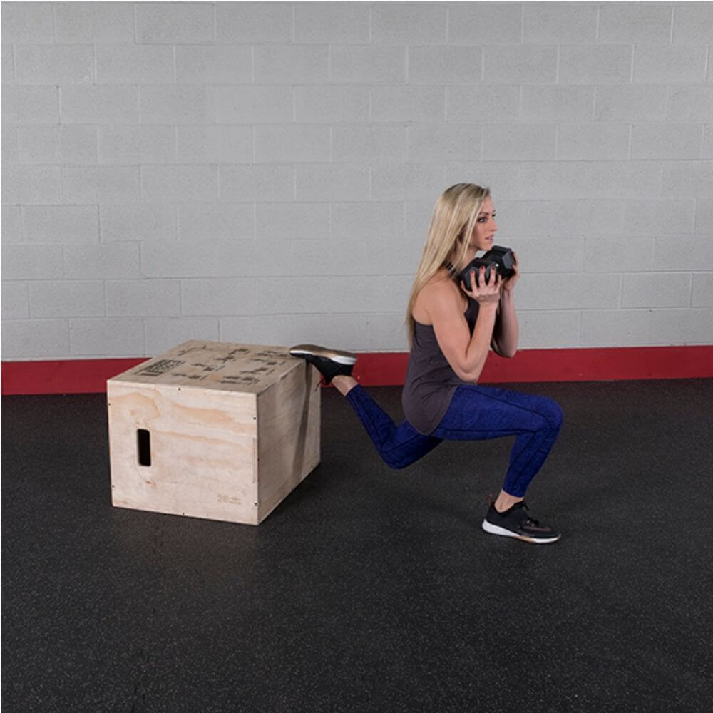 Body-Solid Tools BSTWPBOX 3-in-1 Wooden Plyo Box Weighted Lunges