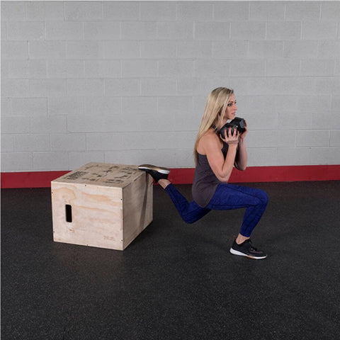 Image of Body-Solid Tools BSTWPBOX 3-in-1 Wooden Plyo Box Weighted Lunges