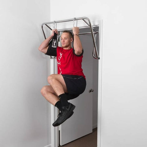 Image of Body-Solid Tools PUB34 Chin Up Bar Front View Chin Up With Straps Cross Legs