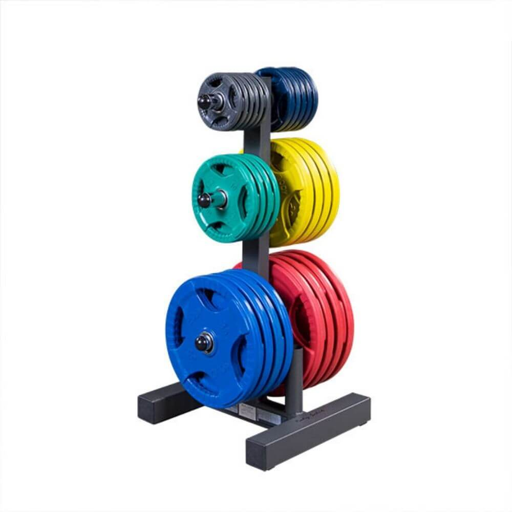 Body-Solid WT46 Olympic Weight Tree 3D View With Plates