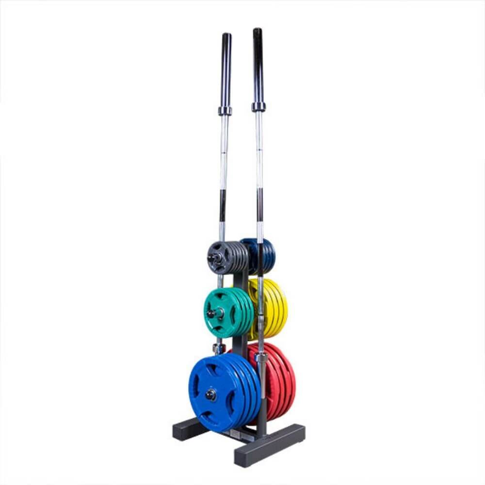 Body-Solid WT46 Olympic Weight Tree 3D View With Plates And Bars