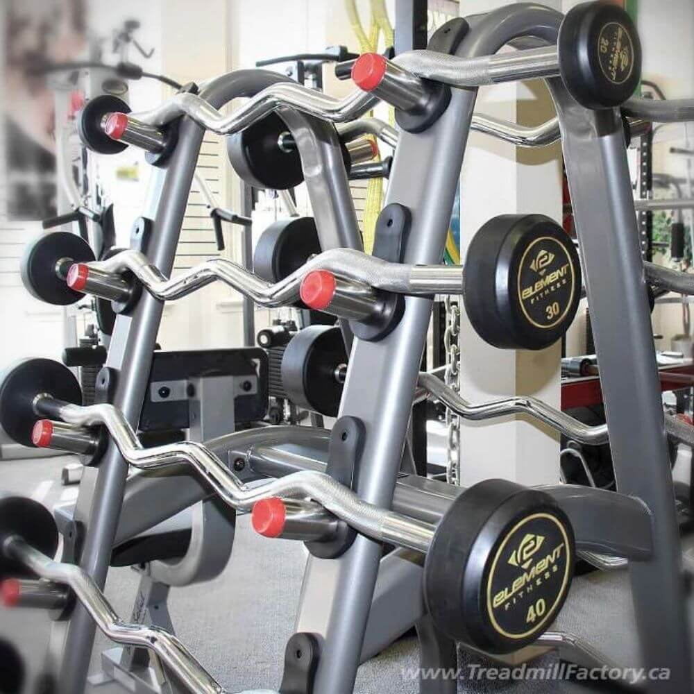 Element Fitness 10-Pair Barbell Rack Close Up View