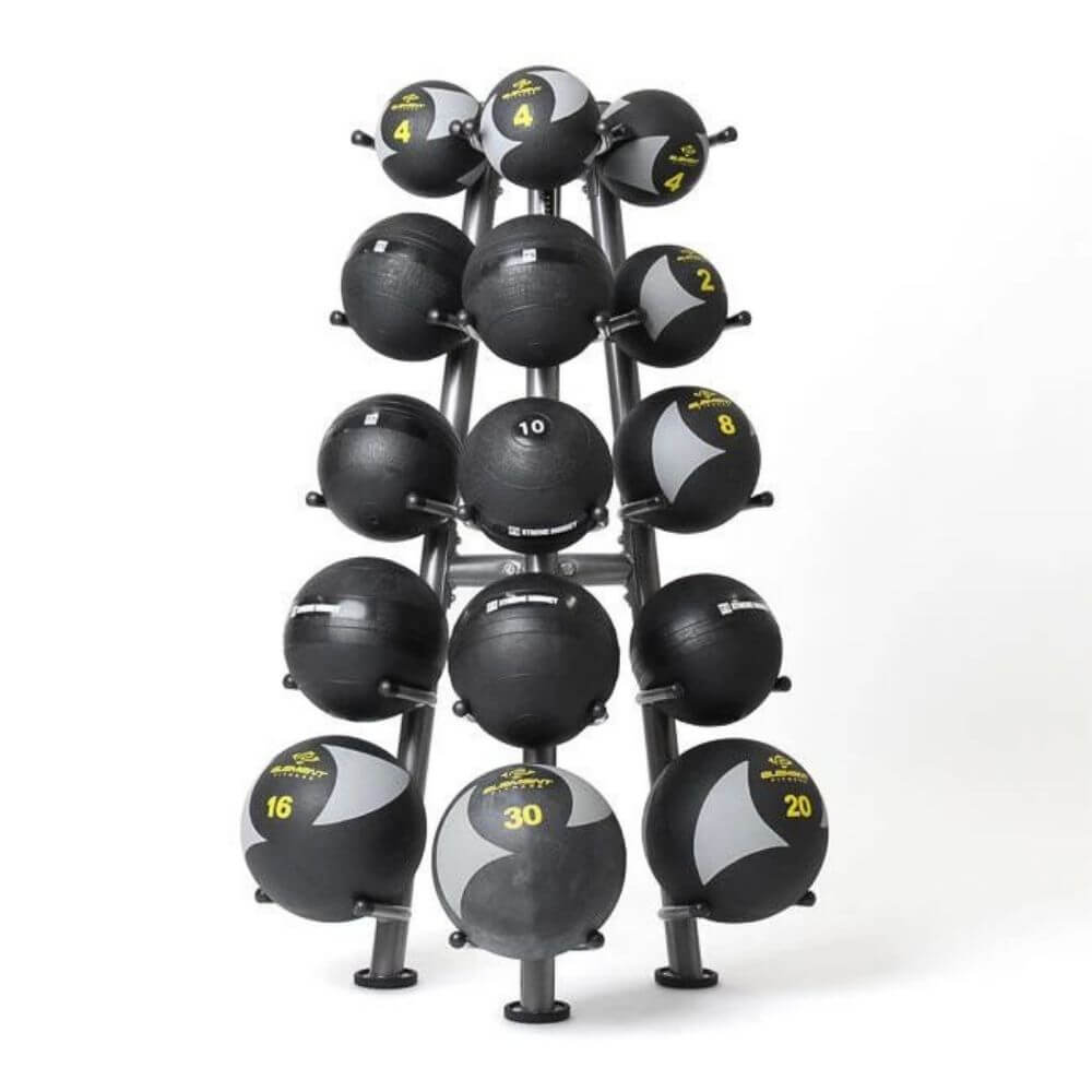 Element Fitness Commercial 15-Ball Rack 3D View With Medballs