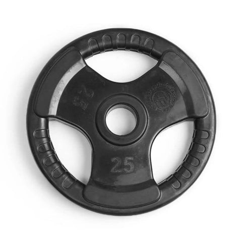 Element Fitness Commercial Olympic Rubber Tri-Grip Plates 25 lbs Top View