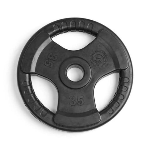 Element Fitness Commercial Olympic Rubber Tri-Grip Plates 35 lbs Top View
