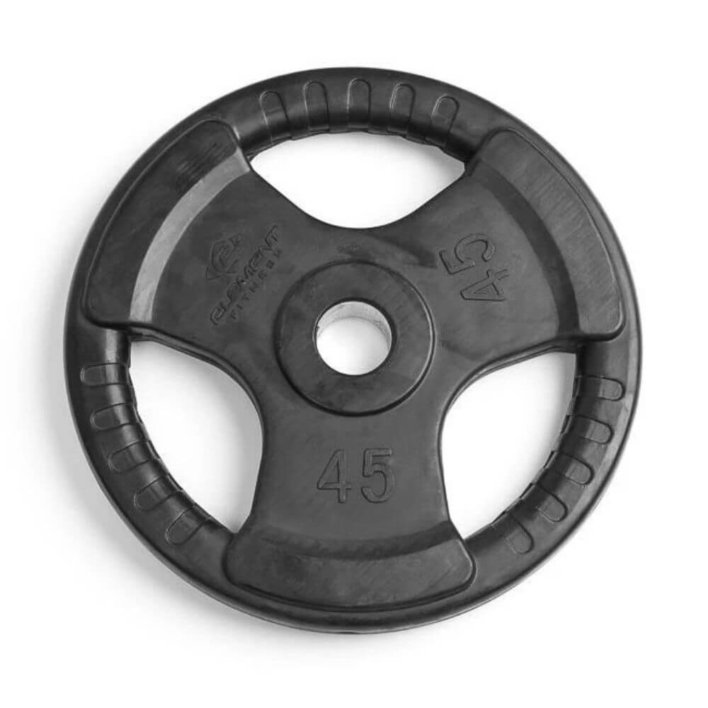 Element Fitness Commercial Olympic Rubber Tri-Grip Plates 45 lbs Top View