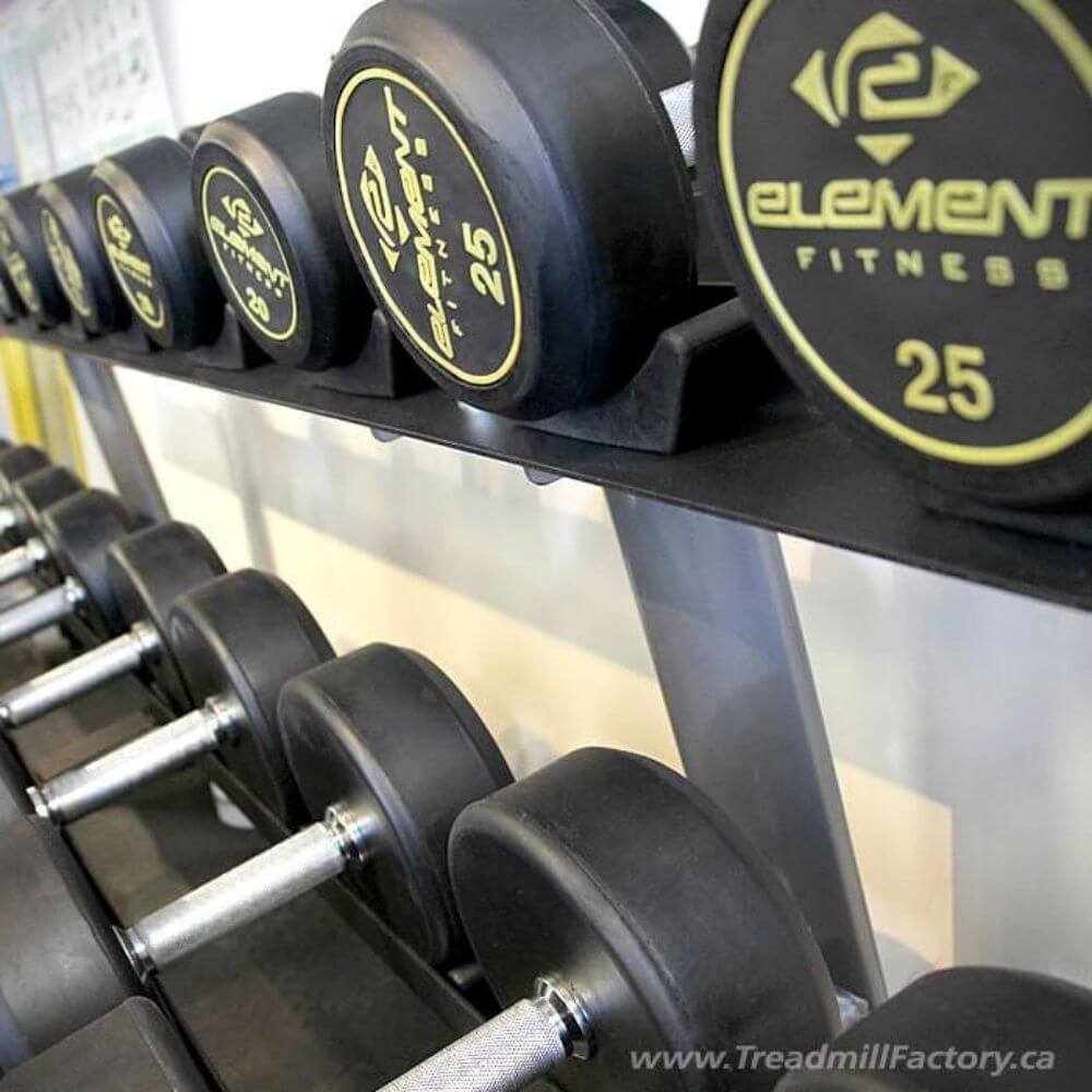 Element Fitness Commercial Round Dumbbells Rack Close Up