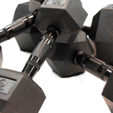 Element Fitness Commercial Rubber Hex Dumbbells Family Close Up