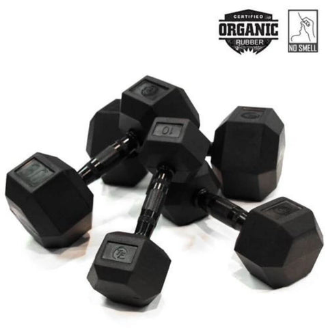 Image of Element Fitness Commercial Rubber Hex Dumbbells Family