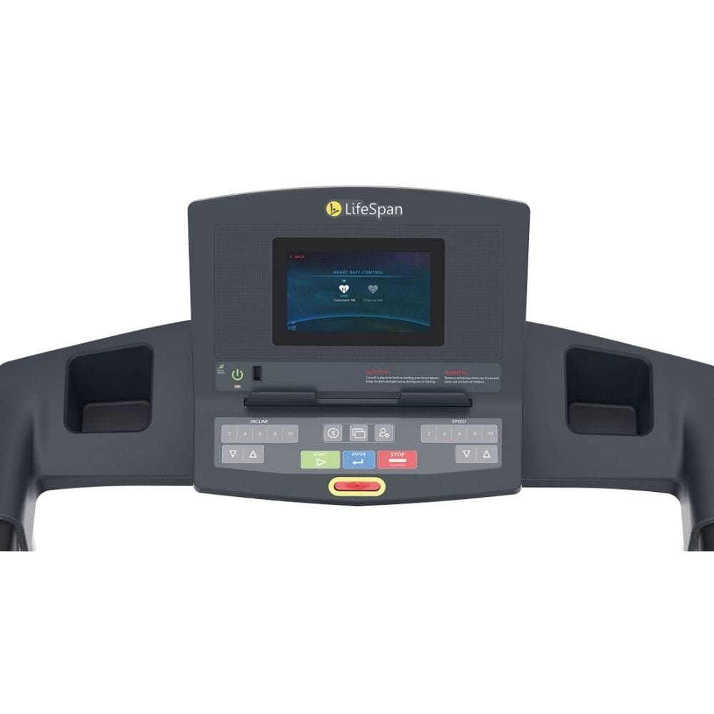 LifeSpan Fitness TR2000i Folding Treadmill Console Front View