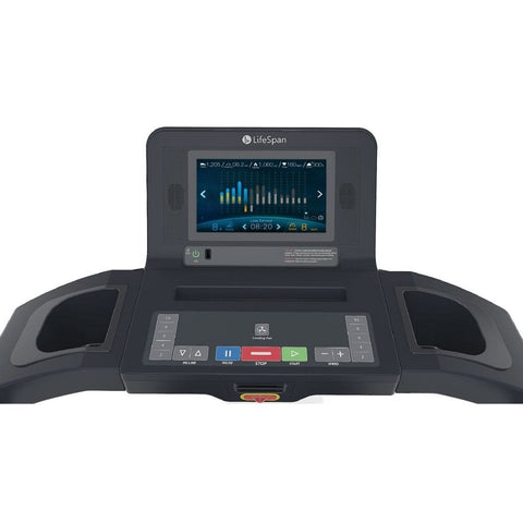 LifeSpan Fitness TR5500i Folding Treadmill Console Front View