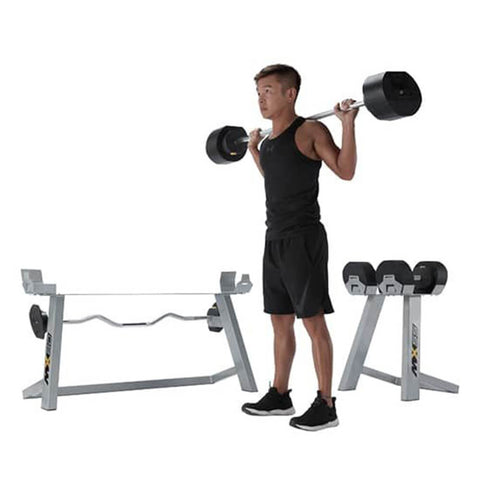 MX Select MX80 Adjustable Barbell & EZ Curl Bar Shoulder