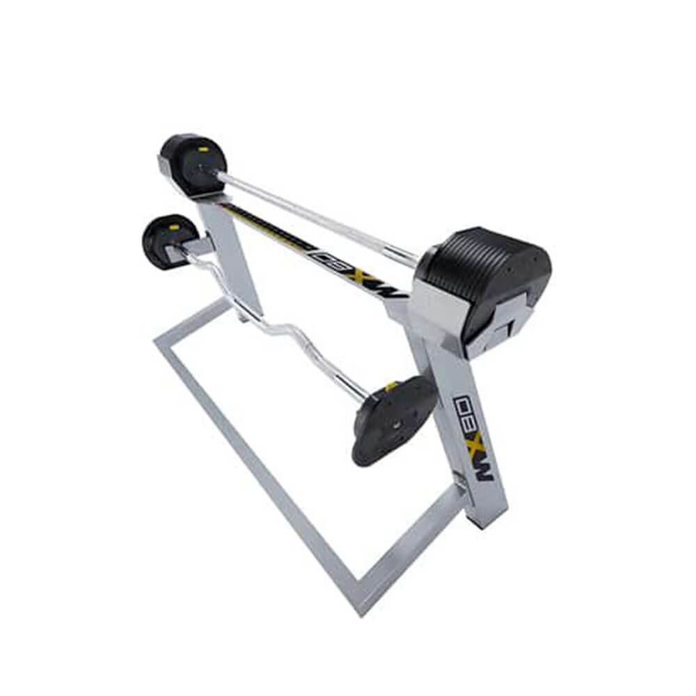 MX Select MX80 Adjustable Barbell & EZ Curl Bar Top Front View