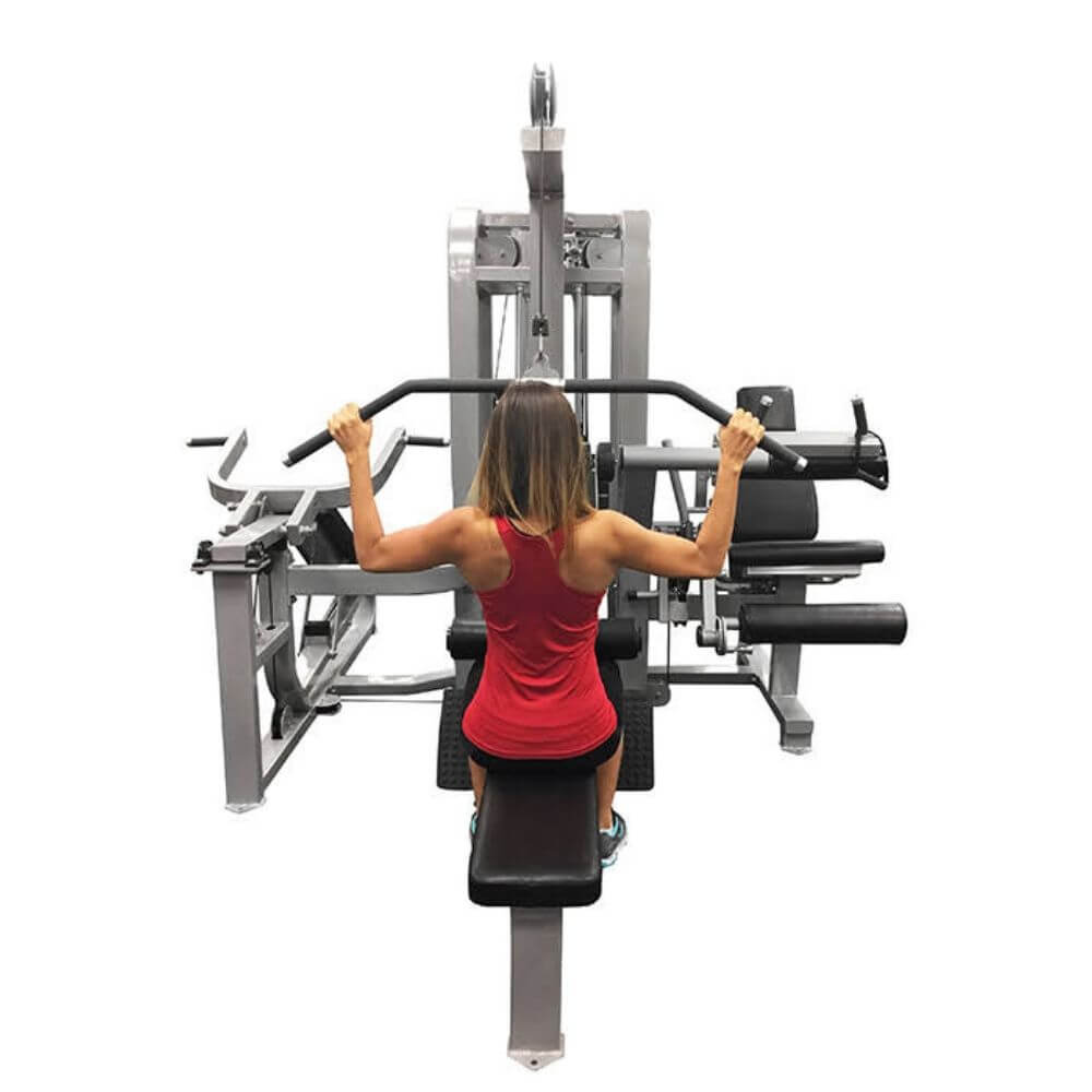Muscle D Fitness MDM-4SC Multi Stations Compact 4-Stack Multi Gym Back View Shoulder Press