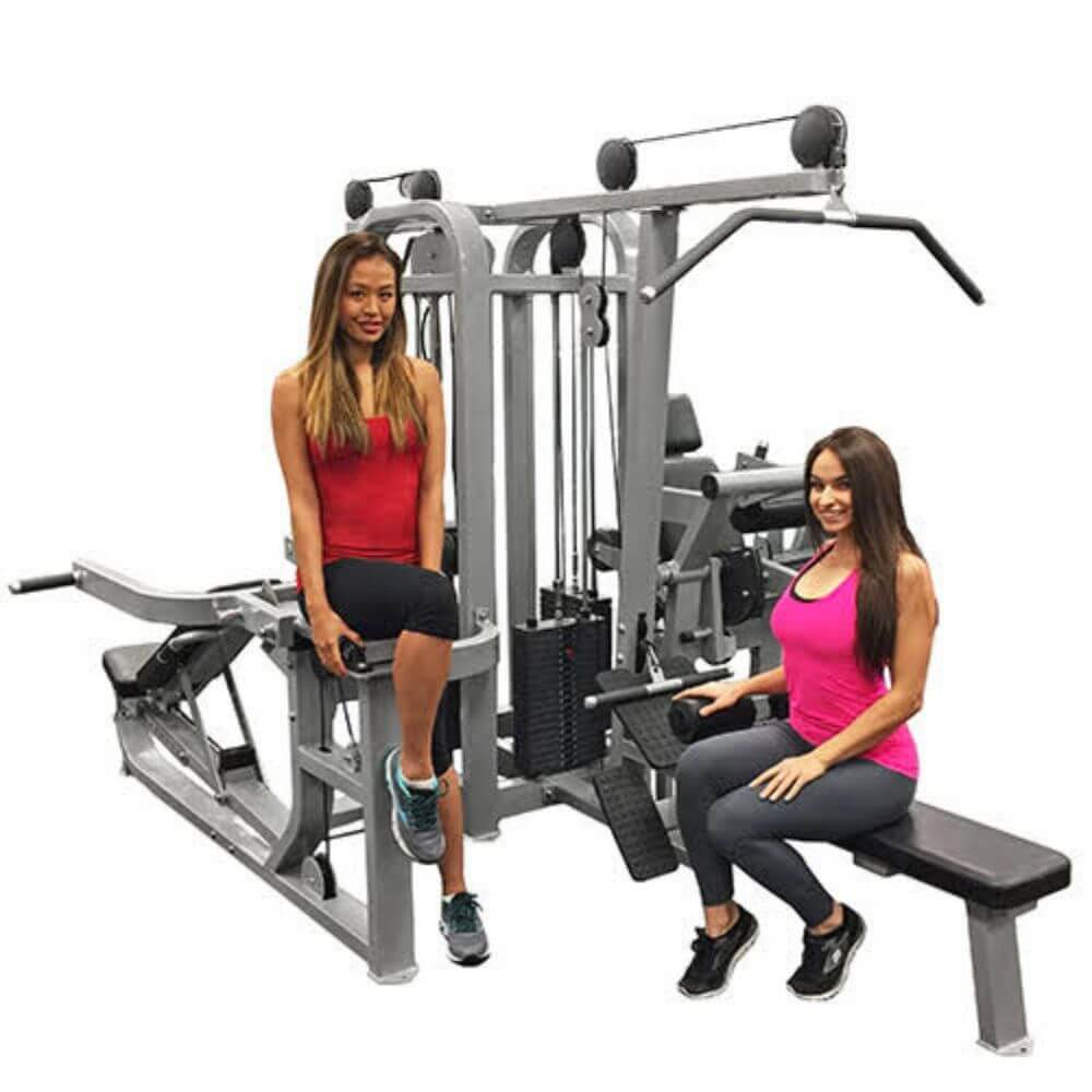 Muscle D Fitness MDM-4SC Multi Stations Compact 4-Stack Multi Gym Front View With Model