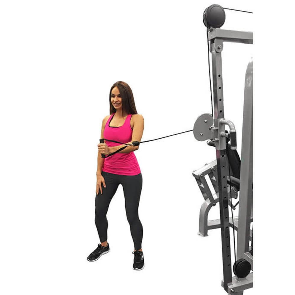 Muscle D Fitness MDM-4SC Multi Stations Compact 4-Stack Multi Gym High Pulley Sideways