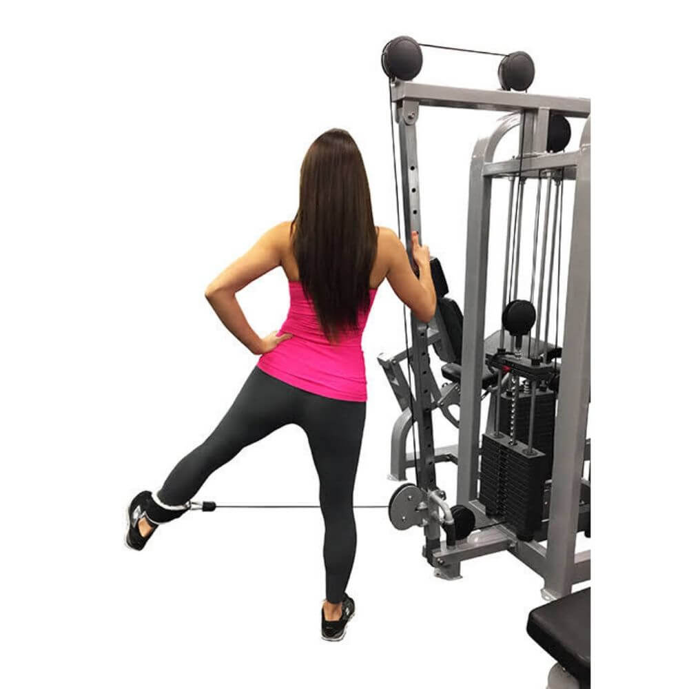 Muscle D Fitness MDM-4SC Multi Stations Compact 4-Stack Multi Gym Low Pulley Extended Leg