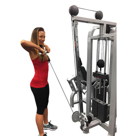 Muscle D Fitness MDM-4SC Multi Stations Compact 4-Stack Multi Gym Low Pulley Tricep