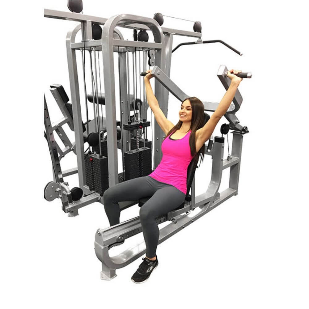 Muscle D Fitness MDM-4SC Multi Stations Compact 4-Stack Multi Gym Shoulder Press Sitting