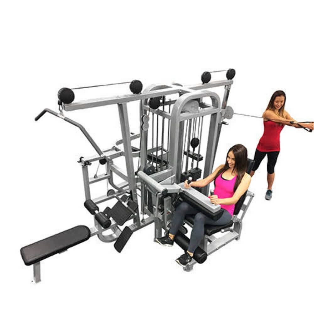 Muscle D Fitness MDM-4SC Multi Stations Compact 4-Stack Multi Gym Top Side View Models Crunch
