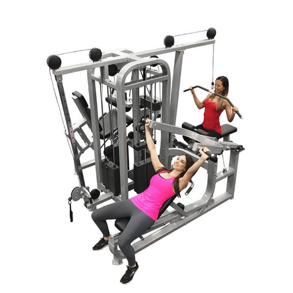 Muscle D Fitness MDM-4SC Multi Stations Compact 4-Stack Multi Gym Top View With Model