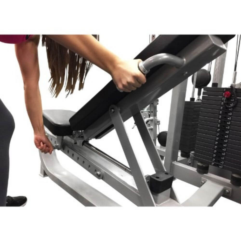 Muscle D Fitness MDM-8SC Multi Stations Compact 8-Stack Multi Gym Inclined Bench