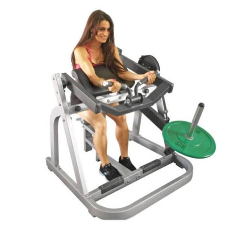 Muscle D Fitness MDP-1018 Power Leverage Seated Arm Curl Exercise Arms Extended Close Up View