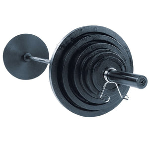 Body-Solid Tools Olympic Plate Set with Barbell OSC