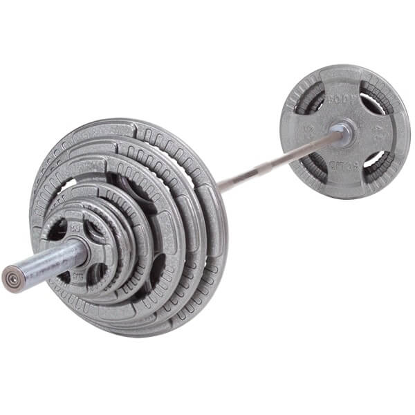 Body-Solid Tools Steel Grip Olympic Plate Set with Barbell OST