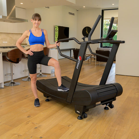 Pro 6 Arcadia Air Runner Treadmill Female Model Front Side View Step
