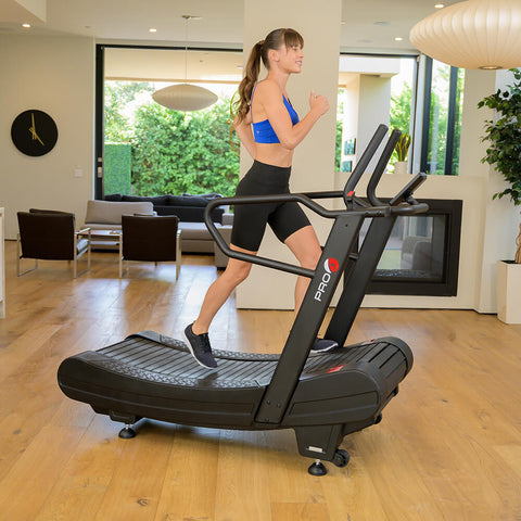 Pro 6 Arcadia Air Runner Treadmill Female Model Side View Running