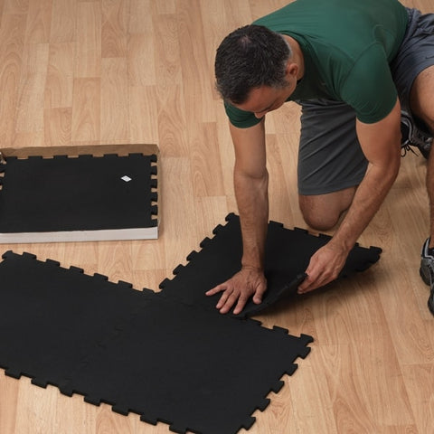 Body-Solid Tools Interlocking Rubber Flooring (4 pieces) RF4PM