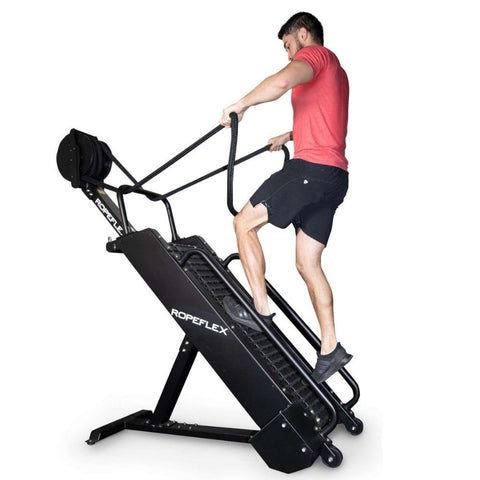 Image of Ropeflex RX4400 APEX Tread Climbing Rope Trainer Holding Top Rope