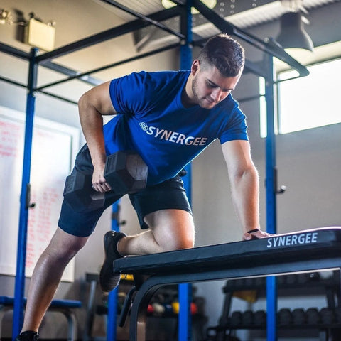Image of Synergee Flat Bench With Hex Dumbbel